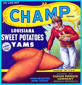 yams sweet potatoes vintage crate label Lafayette LA Friedman Broussard Lily